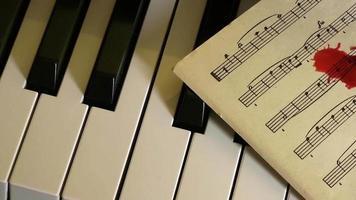 teclas de piano e gotas de sangue na partitura video