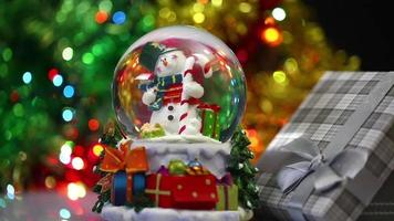 Snowman Sphere and Gift Box in Bokeh Background Christmas