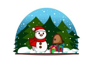 Snowman with mail box and gifts on christmas eve vector