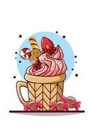 una taza con helado y dulces navideños, galleta y fresa vector