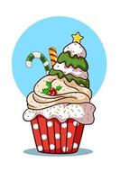 A cupcake with Christmas tree cream and candy vector