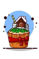 Cupcake with green cream and house cake with red ribbon vector