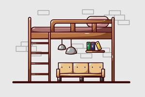 ilustración de cama de dormitorio de lujo vector