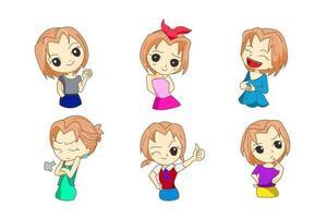 Design character cartoon anime girl set vector