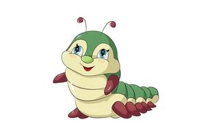 A little cute and happy yellow and green caterpillar, design animal cartoon vector illustration