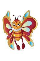 Una linda mariposa con hermosas alas, diseño de ilustración de vector de dibujos animados de animales