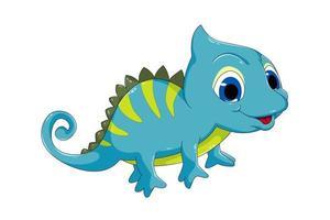 Un lindo camaleón azul con ojos azules, diseño de ilustración de vector de dibujos animados de animales