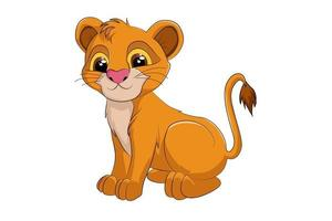 Un lindo bebé león, diseño de ilustración de vector de dibujos animados de animales