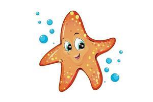 Una linda estrella de mar naranja con burbujas de agua, diseño de ilustración de vector de dibujos animados de animales