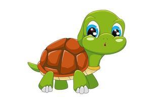 Una pequeña tortuga bebé linda con ojos azules, diseño de ilustración de vector de dibujos animados de animales