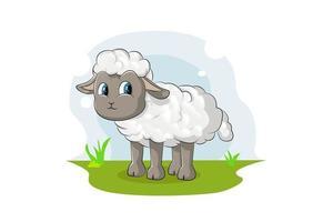 Una pequeña oveja linda en la tierra de la hierba y el cielo azul bckground, diseño de ilustración de vector de dibujos animados de animales