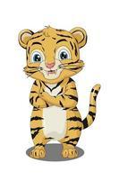 Un pequeño tigre bebé feliz y lindo, diseño de ilustración de vector de dibujos animados de animales