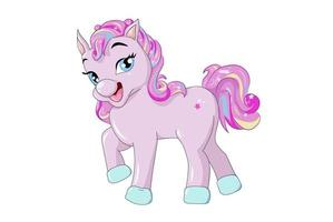 Funny cute pink unicorn cartoon vector
