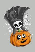 A little cute skull and small ghost having fun with pumpkin halloween vector