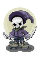 A little skull wearing purple hat and shoes carrying two swords vector