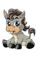 Un pequeño burro de ojos azules lindo bebé riendo, diseño de ilustración de vector de dibujos animados de animales