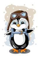 un pequeño pingüino lindo con gafas y una mochila vector
