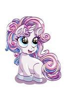 Un pequeño y lindo unicornio rosa de ojos azules con cabello colorido, diseño de ilustración de vector de dibujos animados de animales
