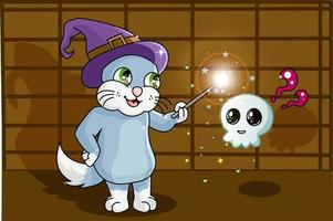 A blue cat using wizard hat doing an amazing magic for cute skull vector