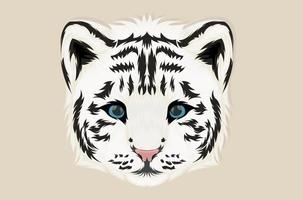 White tiger illustration with realistic style vector