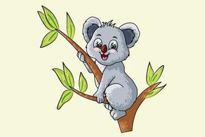 Un pequeño koala lindo bebé en un árbol, diseño de ilustración de vector de dibujos animados de animales