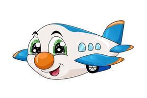 una pequeña ilustración de personaje de avión de dibujos animados lindo vector