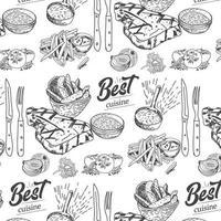carne, bistec, ternera y cerdo dibujados a mano, patrón sin costuras de cordero vector