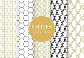 Seamless patterns with abstract ornament set vector