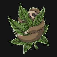 Sloth Hugs Weed vector illustration