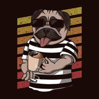 Pug dog drinking coffee retro vector illustration