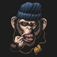 Monkey gangster head vector illustration