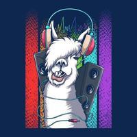 llama, auriculares, dj, retro, vector, ilustración vector
