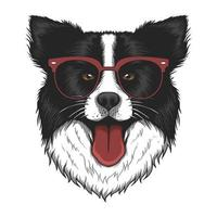 Border collie con ilustración de vector de anteojos