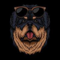 Tibetan mastiff eyeglasses retro vector illustration