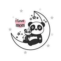Mother's day card with Pandas. Panda mother hugging baby panda. vector