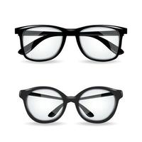 Black vector realitic glasses isolated on white background