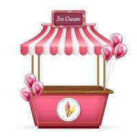 3d realistic vector cart, food kiosk stand. Pink shop with ice cream and balloons