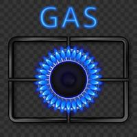 Gas burner with blue flame and black steel grate. Vector realistic illustration