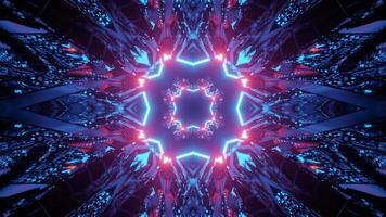 Ilustración 3d de túnel de neón abstracto con paredes reflectantes video