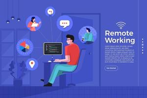 Remote Office working vector