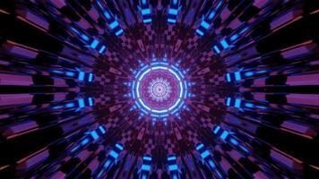 túnel simétrico 3 d ilustración con adornos surrealistas