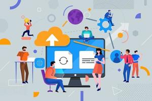 Colorful team of people working together and making money in business vector