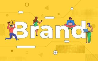 Colorful team of people working together on a brand vector