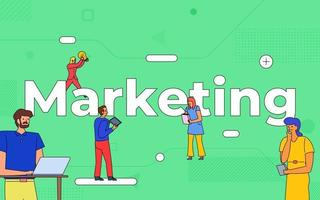 Colorful team of people working together on marketing vector