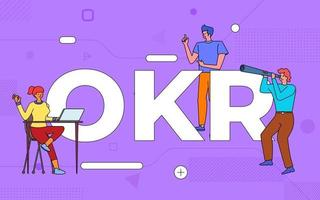 Colorful team of people working together on OKR, Objective Key Result vector