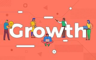 Colorful team of people working together on growth vector