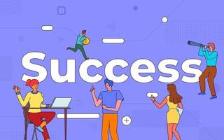 Colorful team of people working together on success vector
