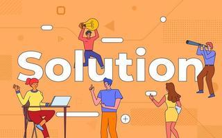 colorido equipo de personas que trabajan juntas en la solución vector