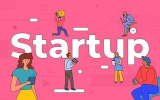 Colorful team of people working together on startup vector
