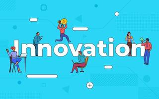 Colorful team of people working together on innovation vector